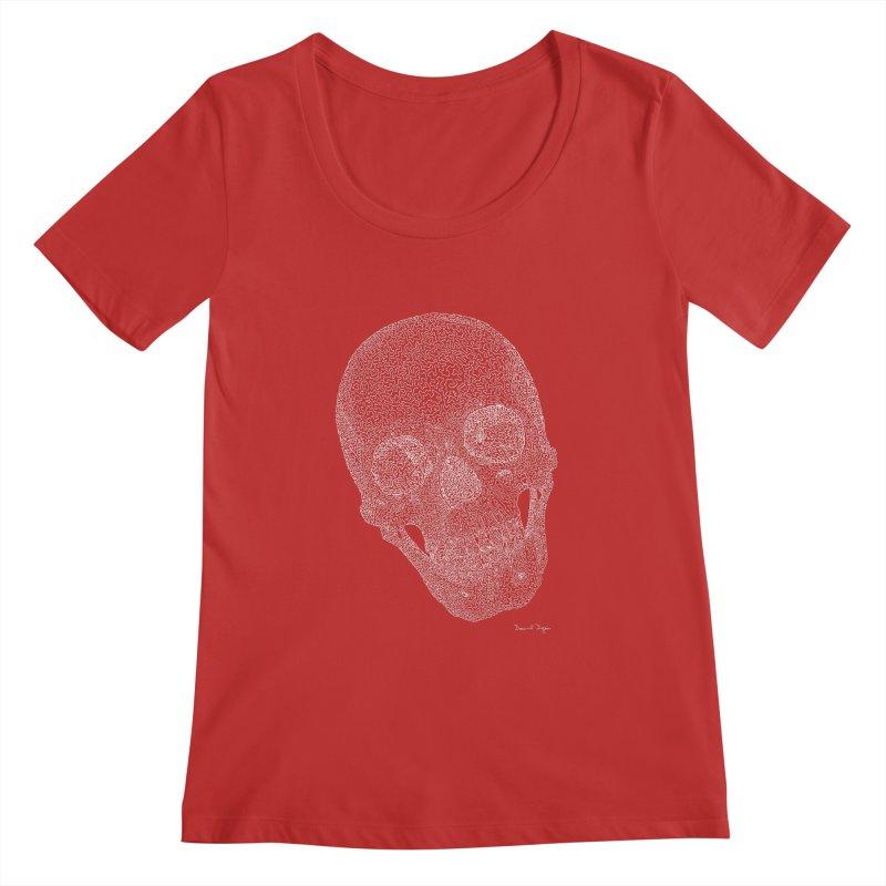 Skull (White) - One Continuous Line Women's Regular Scoop Neck by Daniel Dugan's Artist Shop