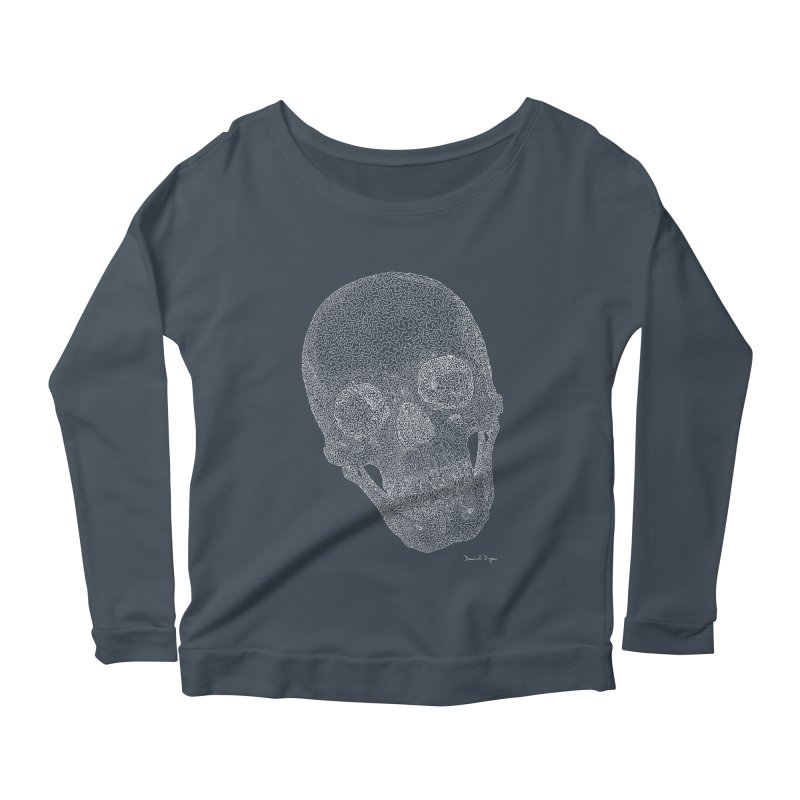Skull (White) - One Continuous Line Women's Scoop Neck Longsleeve T-Shirt by Daniel Dugan's Artist Shop