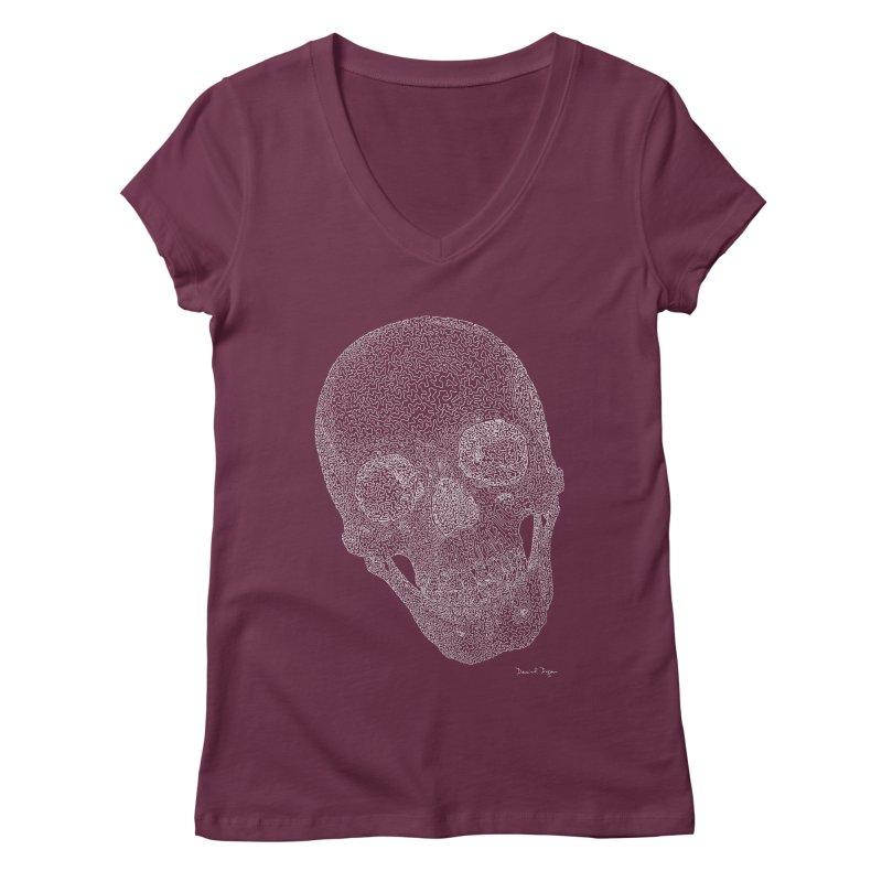 Skull Cocked (For Dark Backgrounds Women's V-Neck by Daniel Dugan's Artist Shop