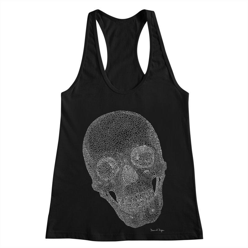Skull (White) - One Continuous Line Women's Racerback Tank by Daniel Dugan's Artist Shop