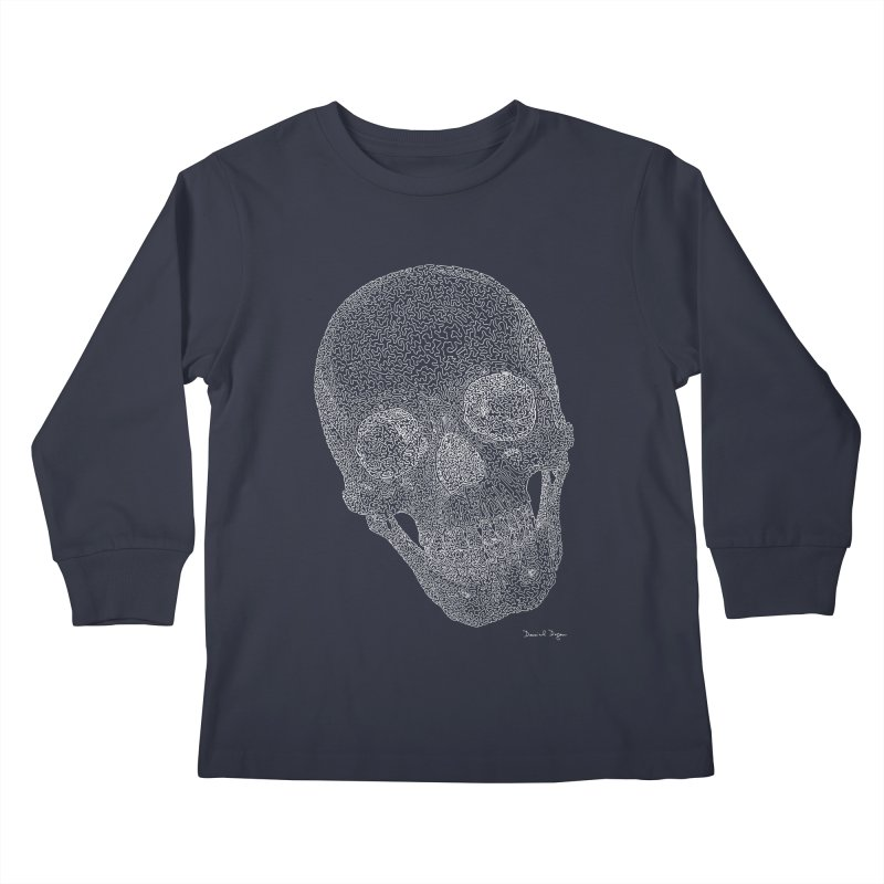 Skull Cocked (For Dark Backgrounds Kids Longsleeve T-Shirt by Daniel Dugan's Artist Shop