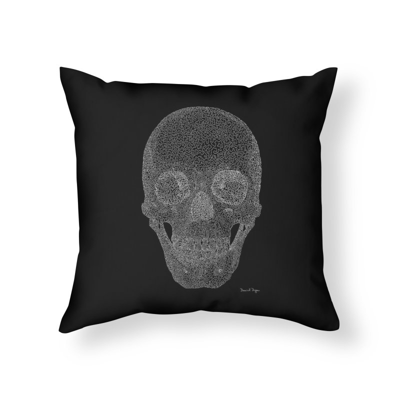 Skull (White) - One Continuous Line Home Throw Pillow by Daniel Dugan's Artist Shop