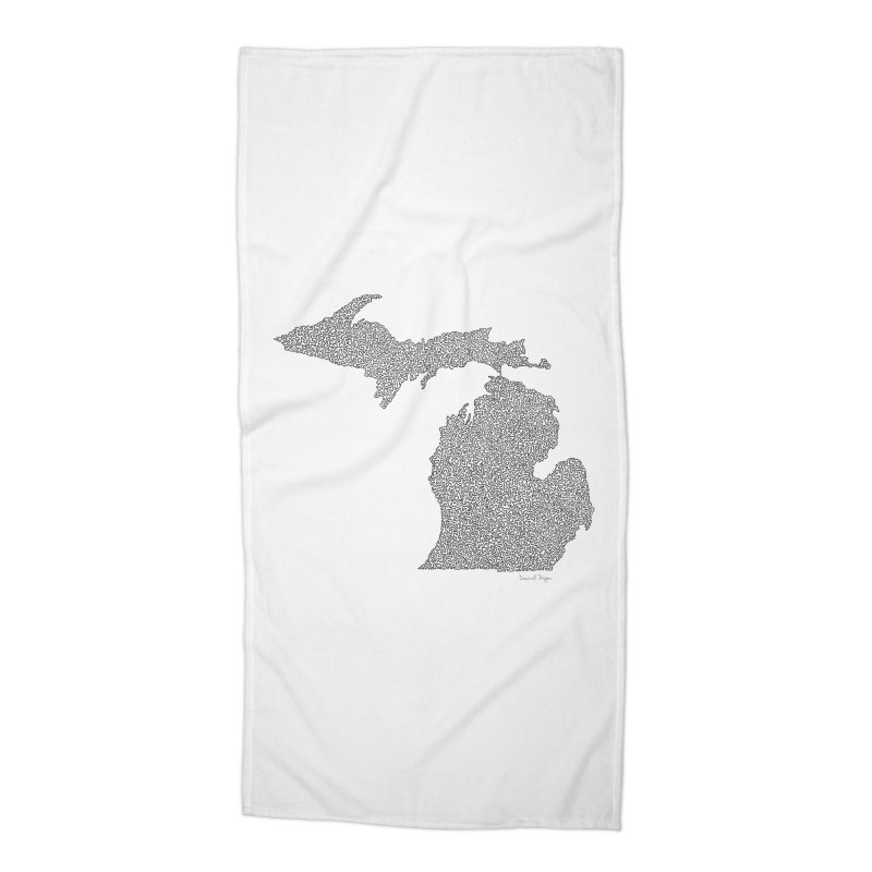 Michigan - One Continuous Line Accessories Beach Towel by Daniel Dugan's Artist Shop