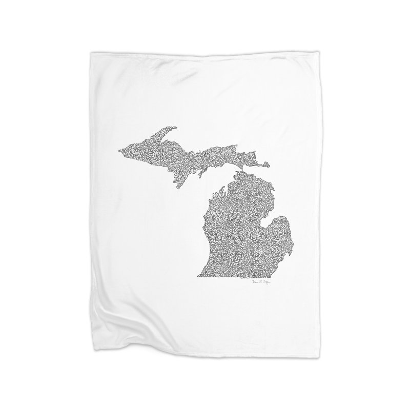 Michigan - One Continuous Line Home Blanket by Daniel Dugan's Artist Shop