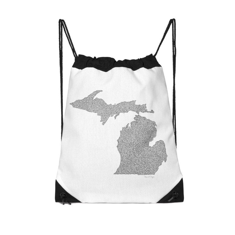 Michigan - One Continuous Line Accessories Drawstring Bag Bag by Daniel Dugan's Artist Shop