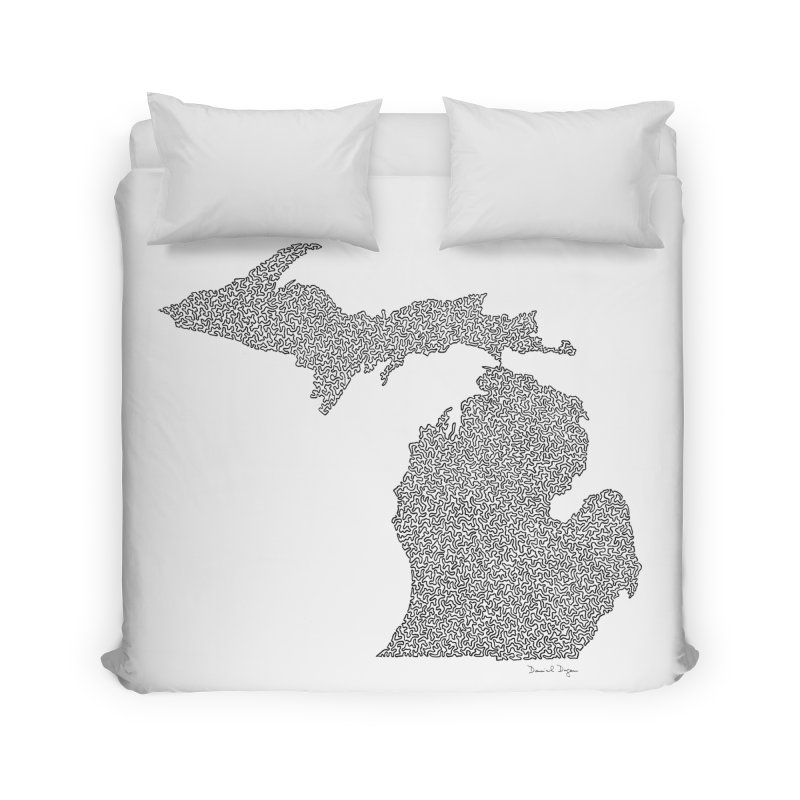 Michigan - One Continuous Line Home Duvet by Daniel Dugan's Artist Shop
