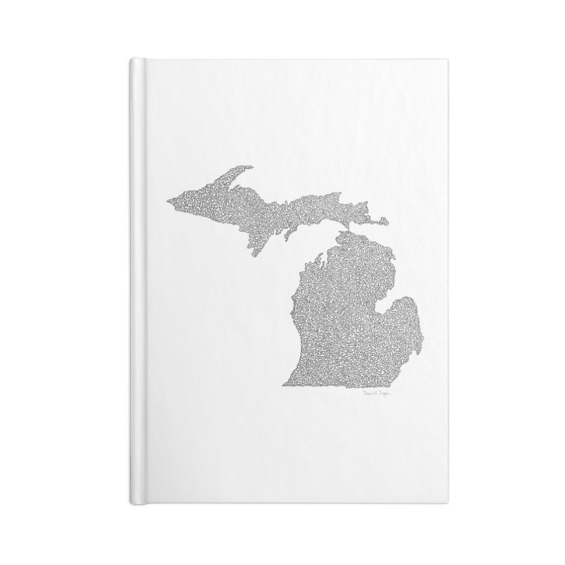 Michigan - One Continuous Line Accessories Notebook by Daniel Dugan's Artist Shop