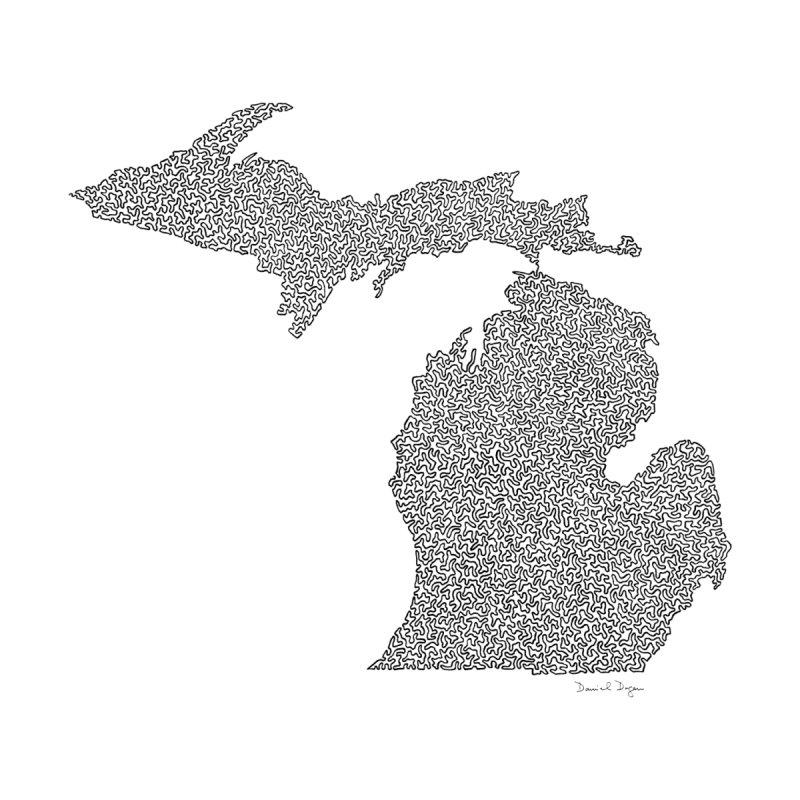 Michigan - One Continuous Line None  by Daniel Dugan's Artist Shop
