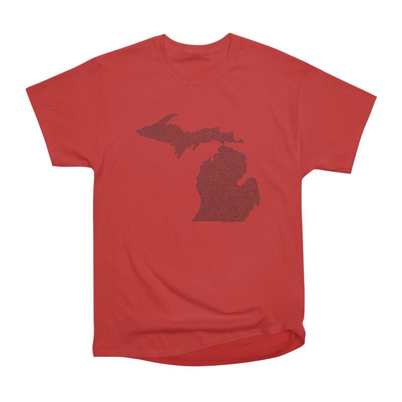 Michigan - One Continuous Line Men's Heavyweight T-Shirt by Daniel Dugan's Artist Shop