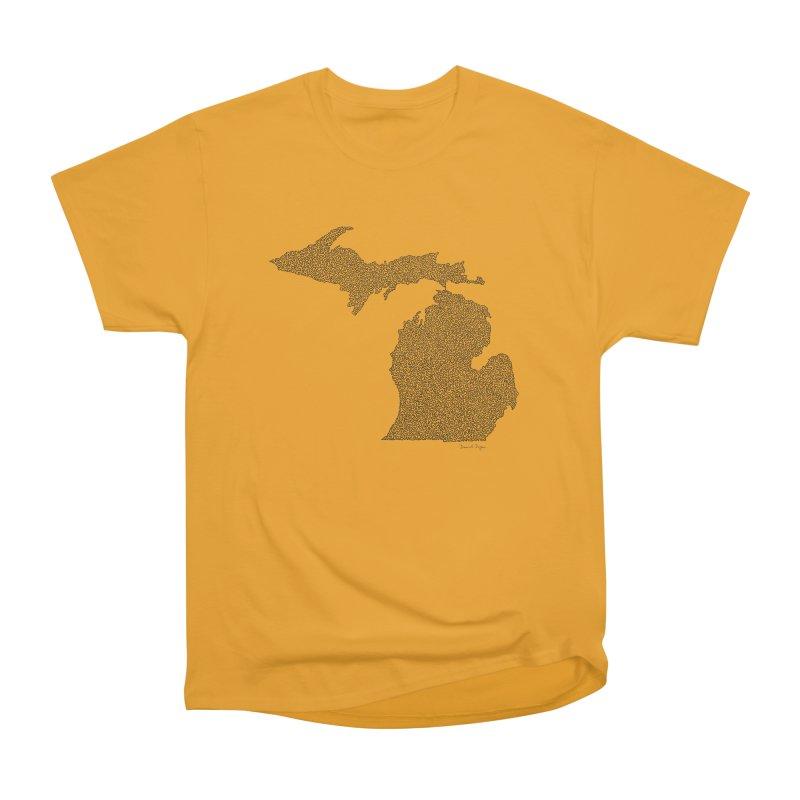Michigan - One Continuous Line Women's Heavyweight Unisex T-Shirt by Daniel Dugan's Artist Shop