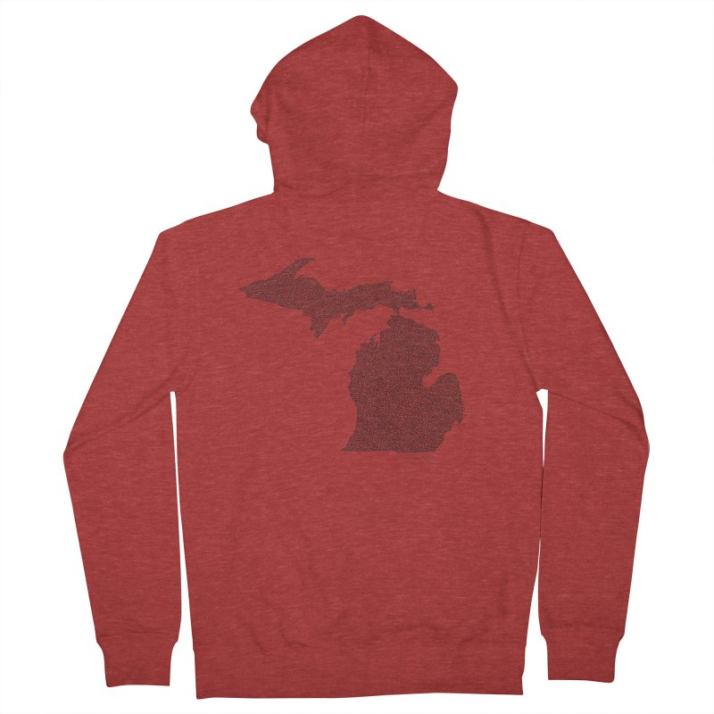 Michigan - One Continuous Line Women's Zip-Up Hoody by Daniel Dugan's Artist Shop