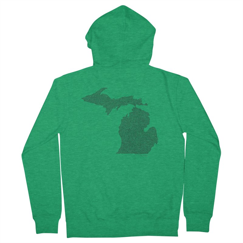 Michigan - One Continuous Line Men's French Terry Zip-Up Hoody by Daniel Dugan's Artist Shop