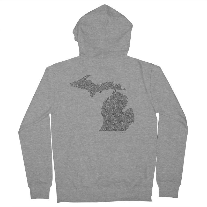 Michigan - One Continuous Line Men's Zip-Up Hoody by Daniel Dugan's Artist Shop