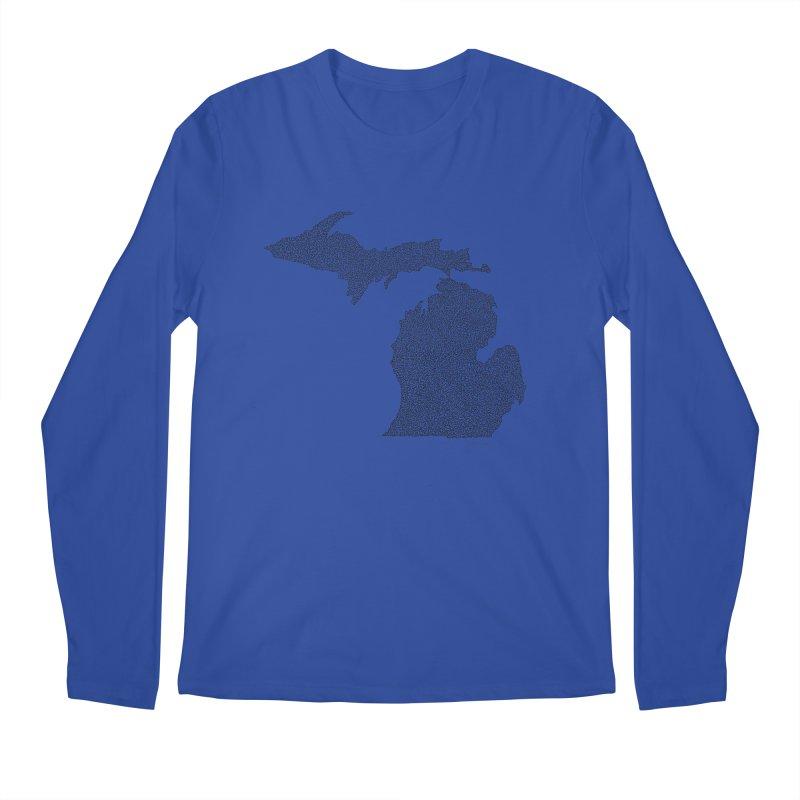 Michigan - One Continuous Line Men's Longsleeve T-Shirt by Daniel Dugan's Artist Shop