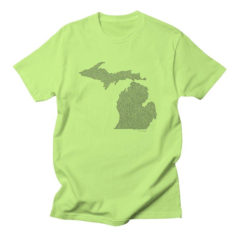 Michigan - One Continuous Line Women's Regular Unisex T-Shirt by Daniel Dugan's Artist Shop