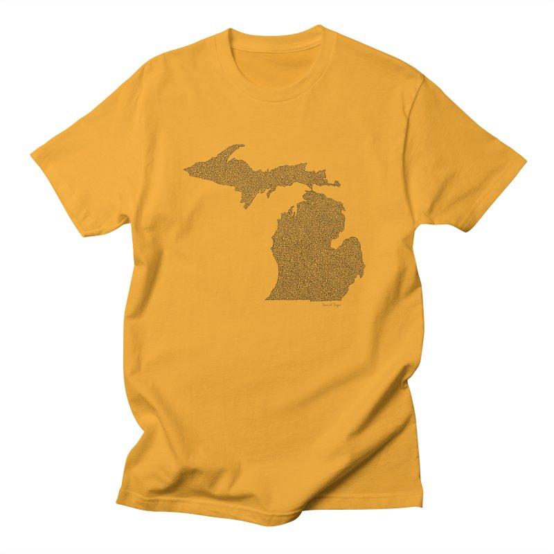 Michigan - One Continuous Line Men's T-Shirt by Daniel Dugan's Artist Shop