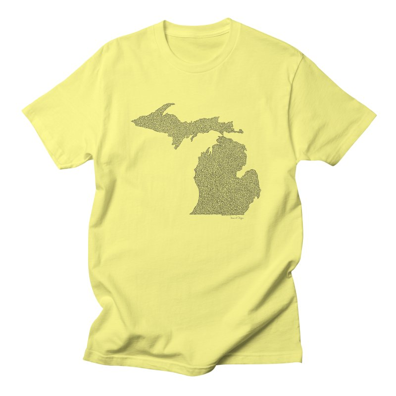Michigan - One Continuous Line Men's Regular T-Shirt by Daniel Dugan's Artist Shop