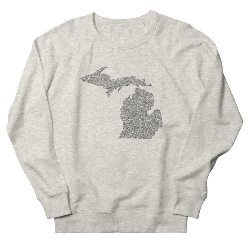 Michigan - One Continuous Line Women's French Terry Sweatshirt by Daniel Dugan's Artist Shop