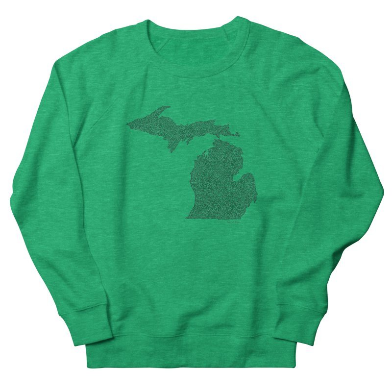 Michigan - One Continuous Line Men's Sweatshirt by Daniel Dugan's Artist Shop