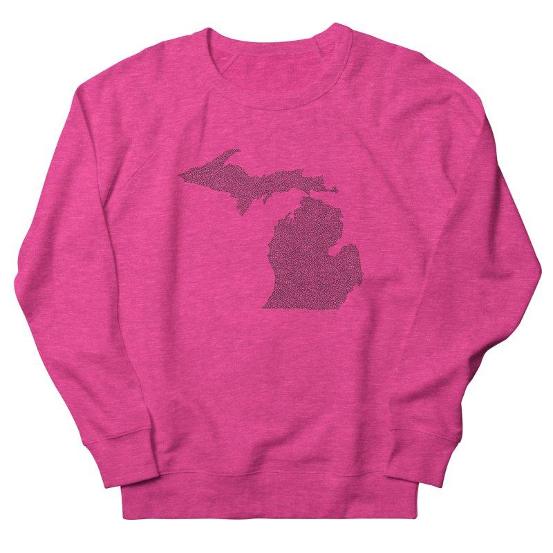 Michigan - One Continuous Line Men's French Terry Sweatshirt by Daniel Dugan's Artist Shop
