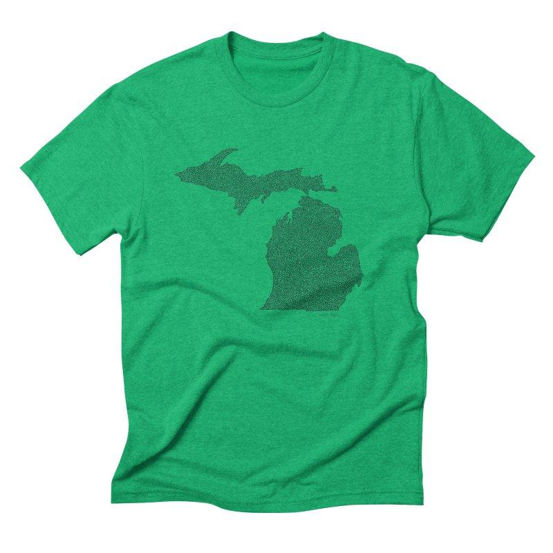 Michigan - One Continuous Line Men's Triblend T-Shirt by Daniel Dugan's Artist Shop