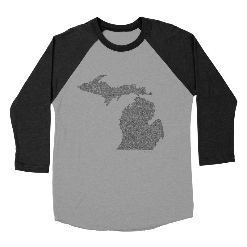 Michigan - One Continuous Line Women's Baseball Triblend T-Shirt by Daniel Dugan's Artist Shop