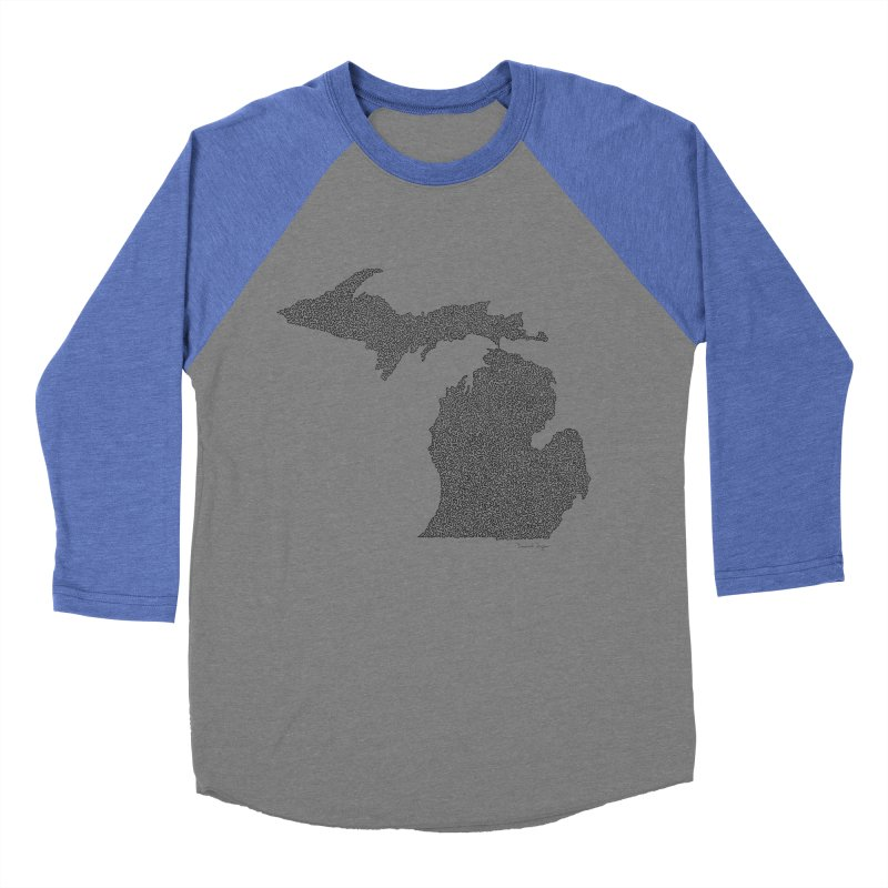 Michigan - One Continuous Line Men's Baseball Triblend T-Shirt by Daniel Dugan's Artist Shop