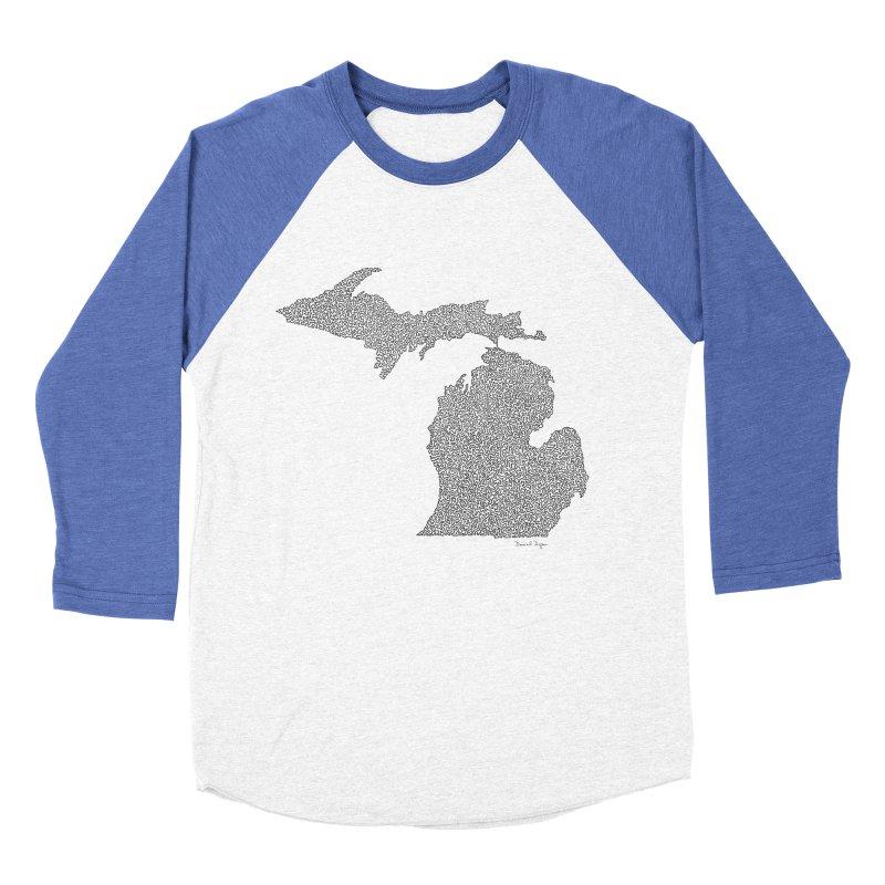 Michigan - One Continuous Line Men's Baseball Triblend Longsleeve T-Shirt by Daniel Dugan's Artist Shop