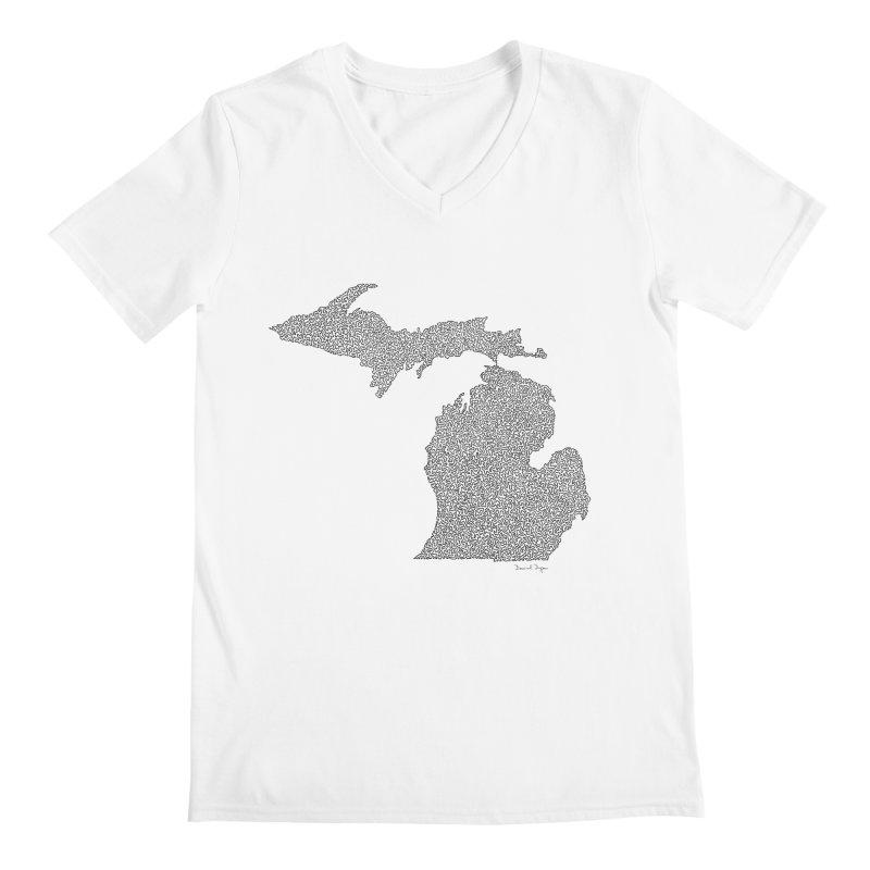 Michigan - One Continuous Line Men's V-Neck by Daniel Dugan's Artist Shop