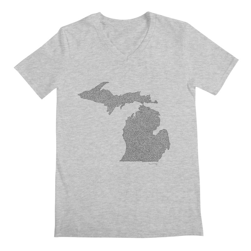Michigan - One Continuous Line Men's Regular V-Neck by Daniel Dugan's Artist Shop