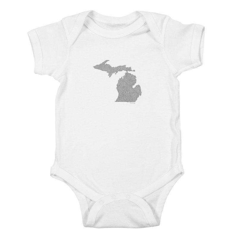 Michigan - One Continuous Line Kids Baby Bodysuit by Daniel Dugan's Artist Shop