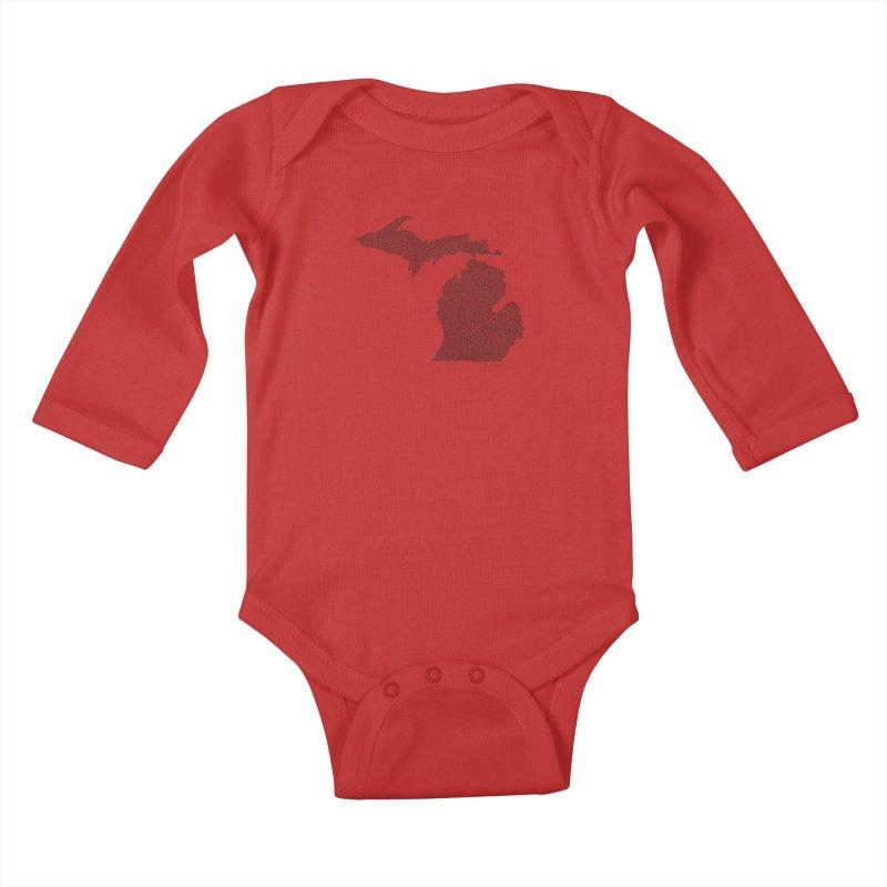 Michigan - One Continuous Line Kids Baby Longsleeve Bodysuit by Daniel Dugan's Artist Shop