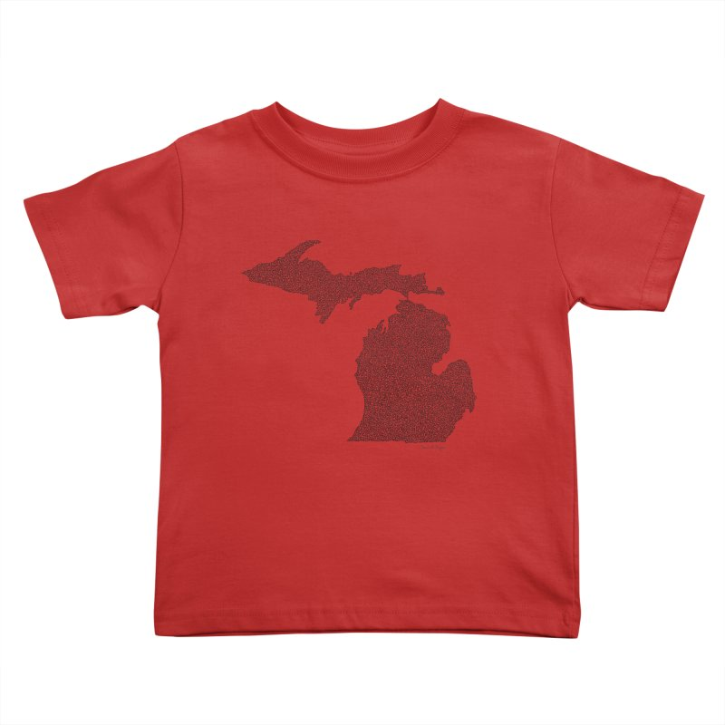 Michigan - One Continuous Line Kids Toddler T-Shirt by Daniel Dugan's Artist Shop