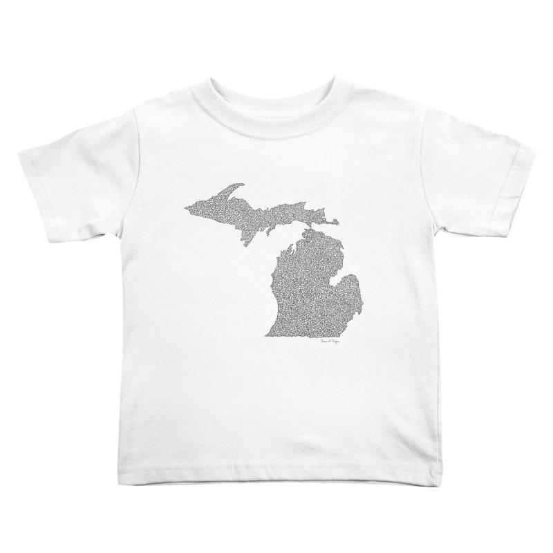 Michigan - One Continuous Line Kids Toddler T-Shirt by Daniel Dugan's Artist Shop