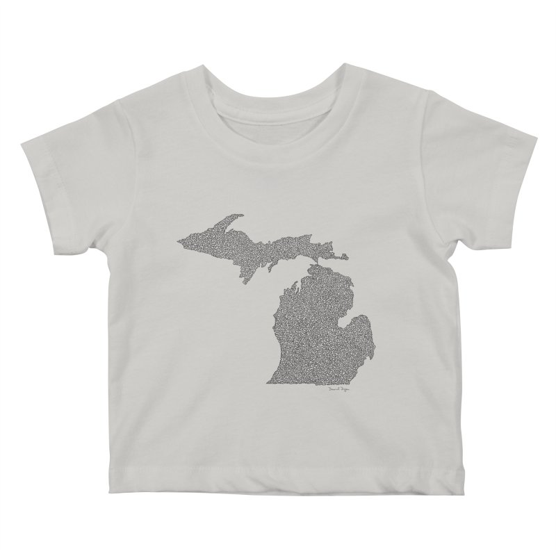 Michigan - One Continuous Line Kids Baby T-Shirt by Daniel Dugan's Artist Shop