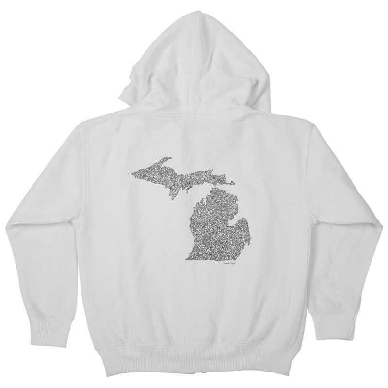 Michigan - One Continuous Line Kids Zip-Up Hoody by Daniel Dugan's Artist Shop