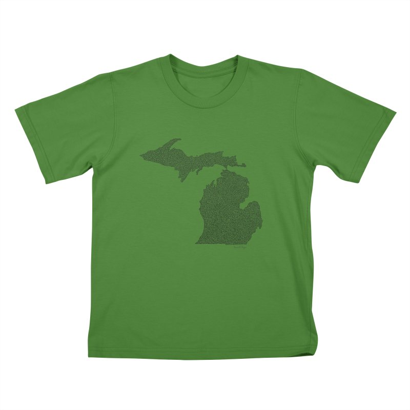 Michigan - One Continuous Line Kids T-Shirt by Daniel Dugan's Artist Shop