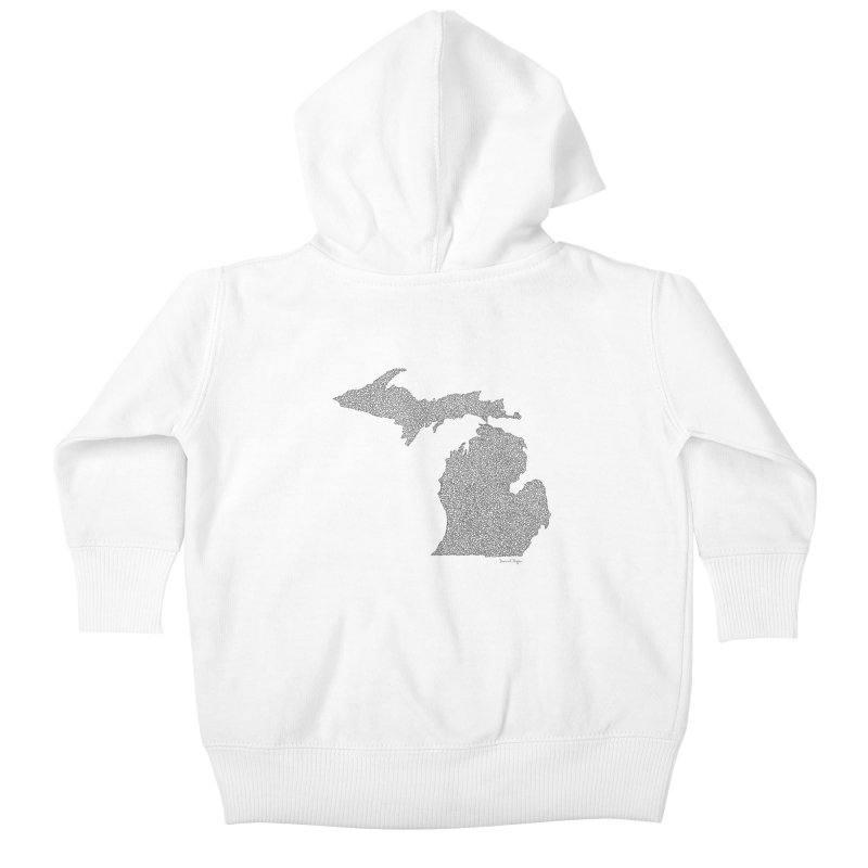 Michigan - One Continuous Line Kids Baby Zip-Up Hoody by Daniel Dugan's Artist Shop