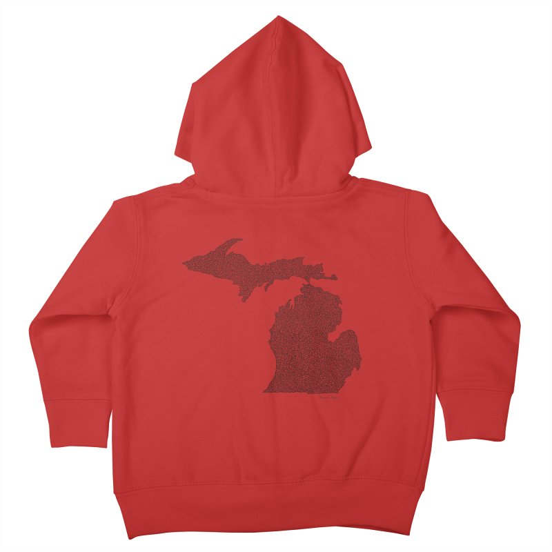 Michigan - One Continuous Line Kids Toddler Zip-Up Hoody by Daniel Dugan's Artist Shop