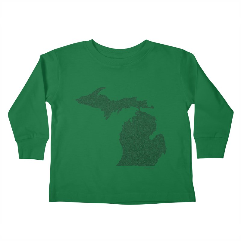Michigan - One Continuous Line Kids Toddler Longsleeve T-Shirt by Daniel Dugan's Artist Shop