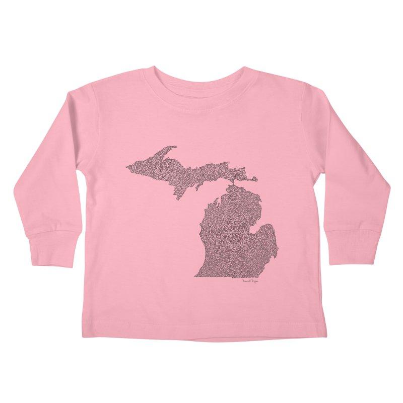 Michigan - One Continuous Line Kids Toddler Longsleeve T-Shirt by Daniel Dugan's Artist Shop