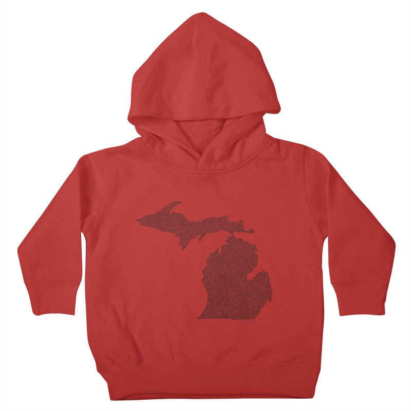 Michigan - One Continuous Line Kids Toddler Pullover Hoody by Daniel Dugan's Artist Shop