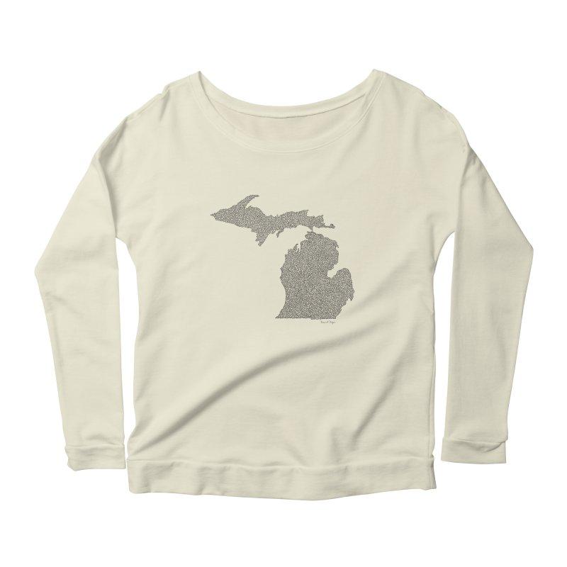 Michigan - One Continuous Line Women's Longsleeve Scoopneck  by Daniel Dugan's Artist Shop
