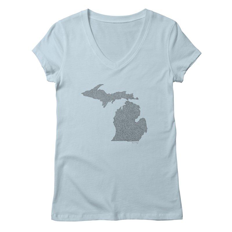 Michigan - One Continuous Line Women's Regular V-Neck by Daniel Dugan's Artist Shop