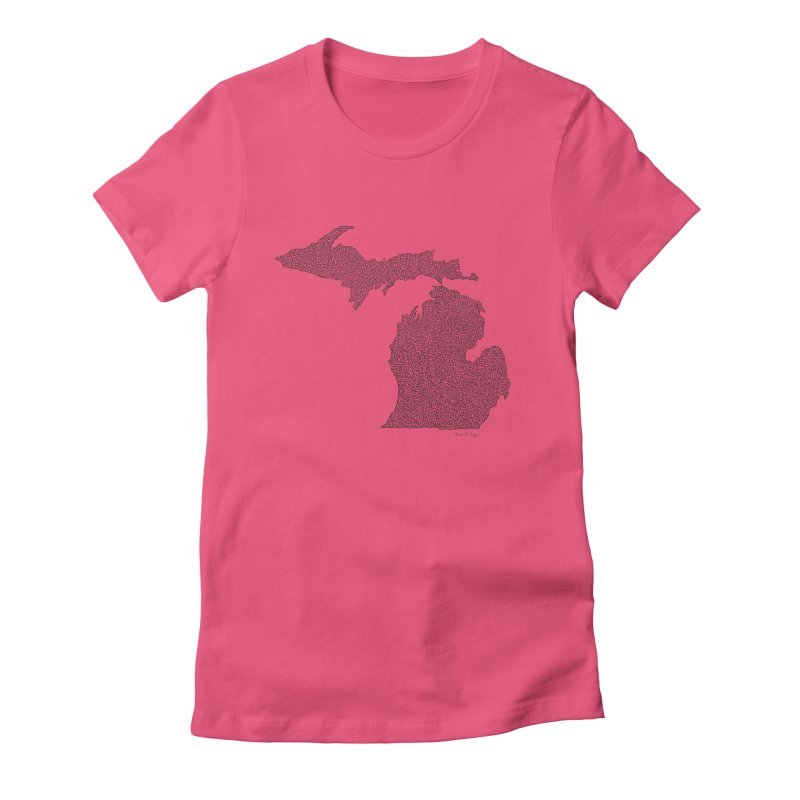 Michigan - One Continuous Line Women's Fitted T-Shirt by Daniel Dugan's Artist Shop