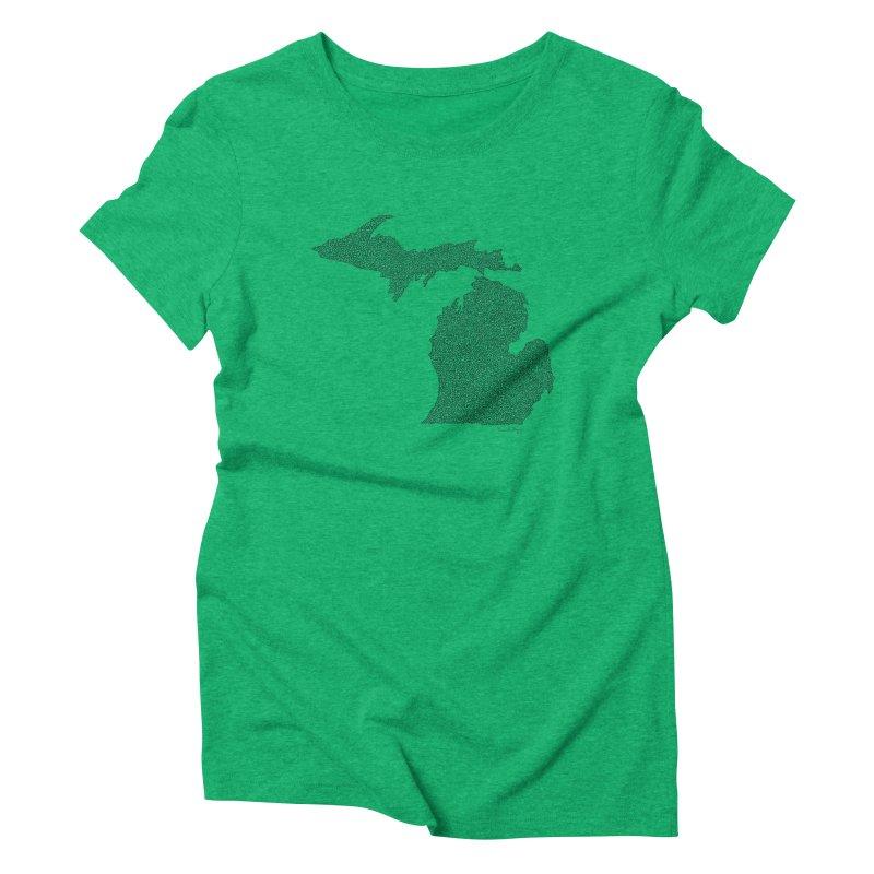 Michigan - One Continuous Line Women's Triblend T-Shirt by Daniel Dugan's Artist Shop