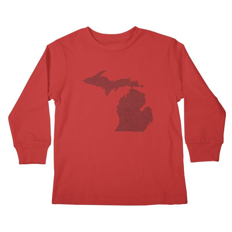 Michigan - One Continuous Line Kids Longsleeve T-Shirt by Daniel Dugan's Artist Shop