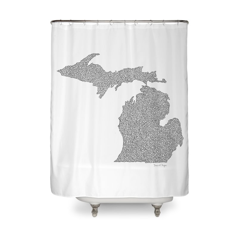 Michigan - One Continuous Line Home Shower Curtain by Daniel Dugan's Artist Shop