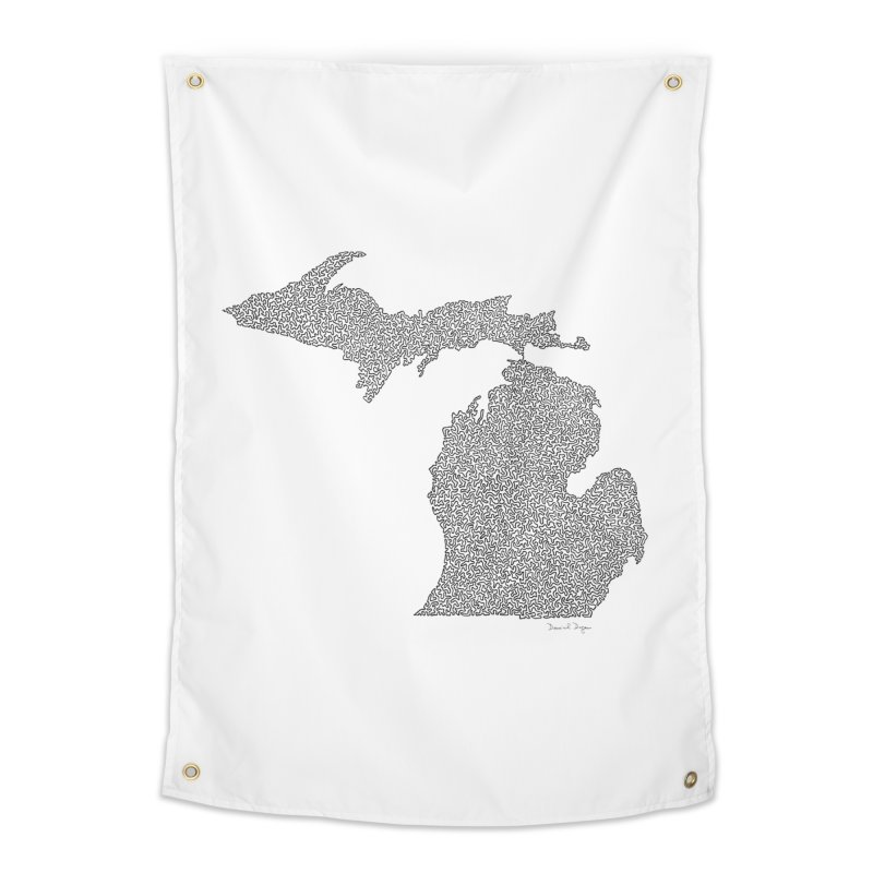 Michigan - One Continuous Line Home Tapestry by Daniel Dugan's Artist Shop