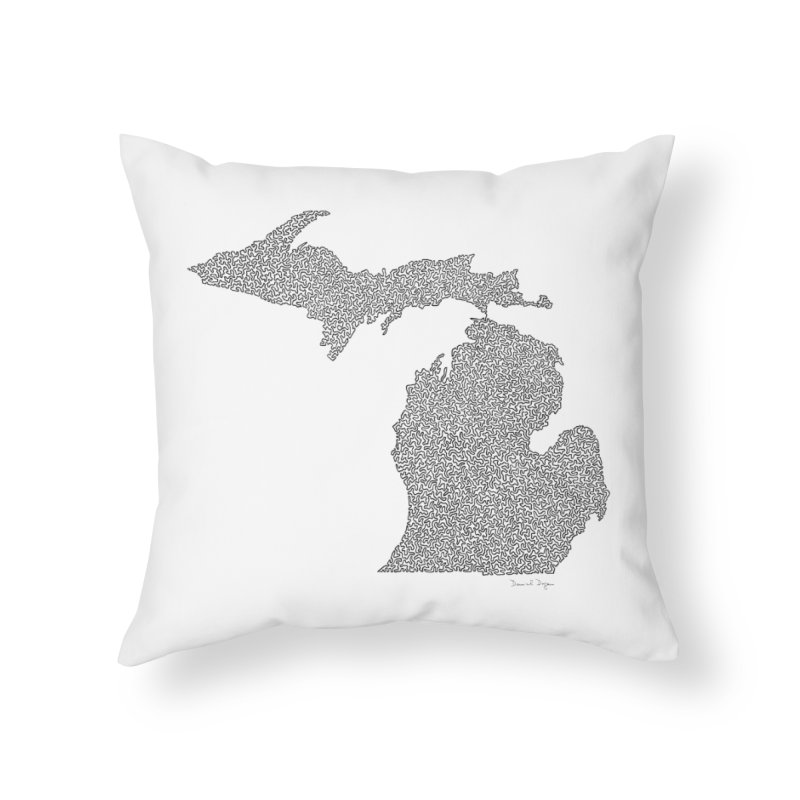 Michigan - One Continuous Line Home Throw Pillow by Daniel Dugan's Artist Shop